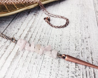 Rose Quartz Pendant Necklace with Spike // Natural Stone Necklace // Spike Necklace // Boho Necklace // Modern Necklace // Handmade Necklace