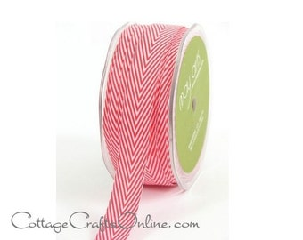 """Chevron Twill Tape 3/4"""" width, Red and White Striped Ribbon - THREE YARDS - May Arts, Christmas, Valentines Day Craft, Sewing Trim"""