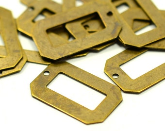 50 Pcs. Antique Brass  12x19 mm  Rectangular Geometric Findings