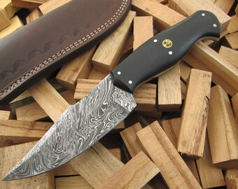 "9""Superior Quality Custom Hand Forged Damascus Steel Hunting / Skinning / Camping / EDC Knife Black Micarta Handle SQ-27"
