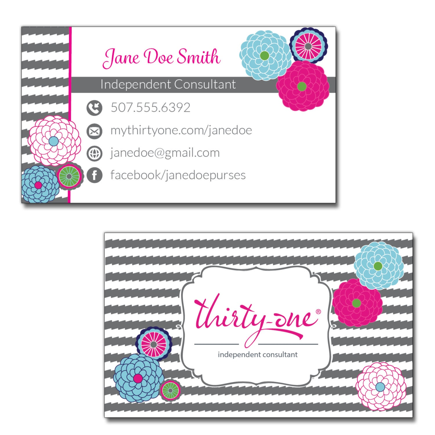 Thirty-One Consultant Business Cards Bubble Bloom and Grey