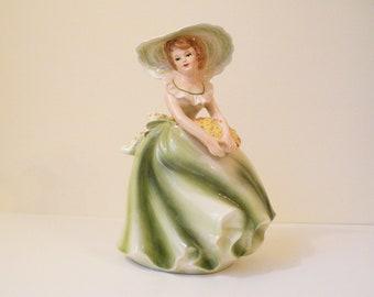 Vintage Porcelain Planter Lady Holding Flowers, Samson Import Co. 1964 5539B
