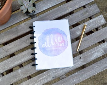 Custom Planner - Watercolor Pink/Lavender Cover, Personalized, Disc Bound Agenda