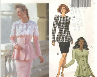 Butterick 5636 Size 6, 8, 10  Women's Skirt suit with long top / tunic, Princess seam, peplum and straight / pencil skirt, mother of bride