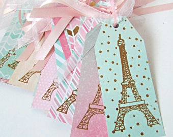 Hand Stamped and Embossed Eiffel Tower Gift Tags French Tag