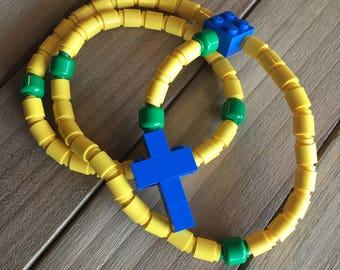 Rosary made of Lego Bricks - Yellow, Green & Blue Catholic Rosary