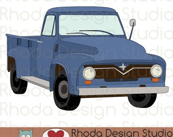 Route 66 Vintage Pickup Truck Stamp Digital Clip Art Retro