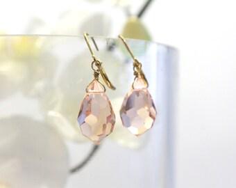 Faceted Light Rose Crystal Drop Earrings