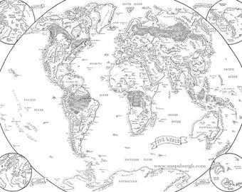 Fantasy map etsy fantasy map of the world gumiabroncs Choice Image
