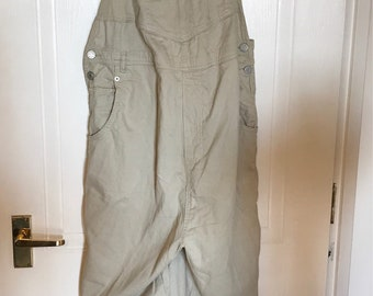 Stone beige dungarees plus size overalls