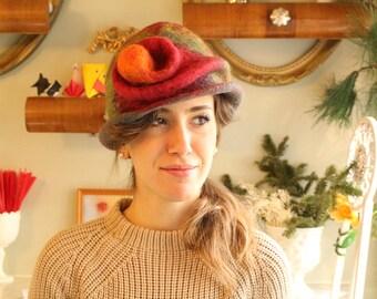 Felted Poppy Flower Hat