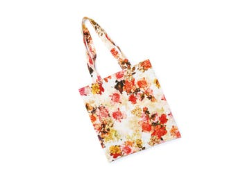 Handmade shopping tote bag, pink red orange flower pattern shopper, vintage mixed fabric, eco friendly fashion gift bag, made in Austria
