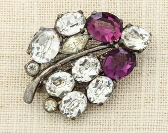 Purple Rhinestone Pot Metal Vintage Brooch Crystal Flower Leaf Amethyst 1920s 1930s Pin 6Y