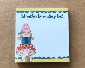 Bookworm Gnaomi, Gnaomi the Gnome Sticky Notes, I'd Rather Be Reading, Planner Supplies, Hand Drawn, Sticky Notes