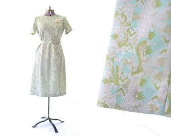 1960s Dress, 60s Dress Knit Dress Grey Dress mint Green Dress Print Dress, Sheath Dress, Large Dress, Medium Womens Dress