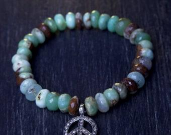 Bio-Chrysoprase and Diamond Pavé Peace Sign Bracelet