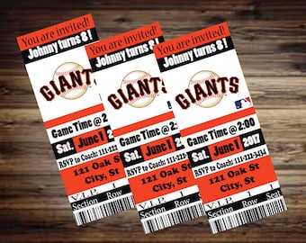 Giants Ticket Invitation, Boys Sports Baseball custom made invite for San Francisco Giants Themed Birthday Party, Ready for you to print!