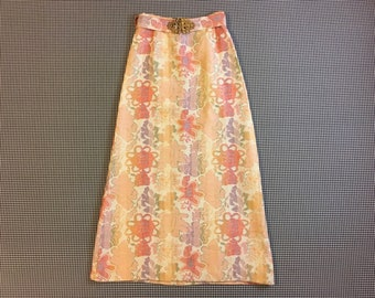 1970's, woven, tapestry, maxi skirt, in pastel, floral design, Women's size Medium/Large