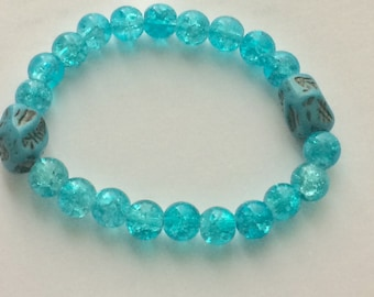 Unique Bracelet = Beautifully Handmade with 8mm Turquoise Glass Beadswith with 2 decorative separators