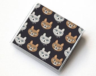 Vinyl Moo Square Card Holder - Big Meow / vinyl, snap, mini card case, moo case, small, square, gift, cat, kitten, cat lady, retro, cute