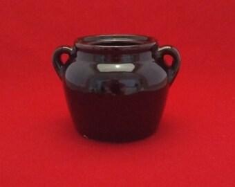 Vintage Brown Bean Pot, Small