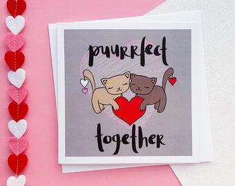 Cute Anniversary Card   Cute Cats Card, Girlfriend Card, Boyfriend Card, Wife Card, Husband Card   Love Cards, Romantic Card