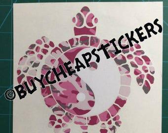 Yin Yang Sea Turtle Decal/Sticker Pink Camo 5x5
