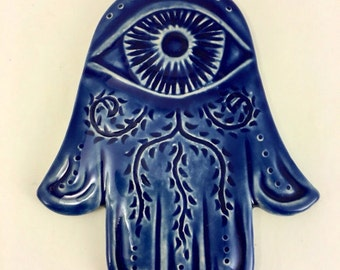 Blue Hamsa Wall Art, Chanukkah gift, evil eye protection, Judaica, Cobalt Blue