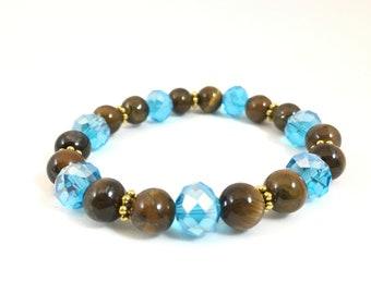 Clear blue and tiger eye bracelet