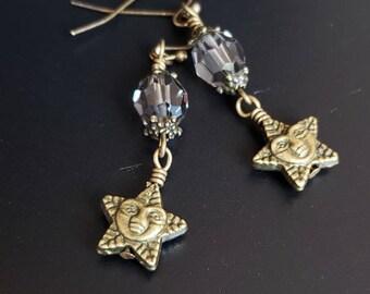 Star Earrings - Vintage Smokey Swarovski & Antiqued Brass Star Earrings