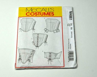 History Corset Sewing Pattern Dirndl Dress Misses Corset Costumes McCall's Sewing Pattern M4861 Women Corset Halloween Costume Pattern