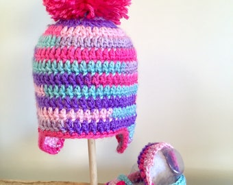 Cotton Candy Hat + Bootie Set