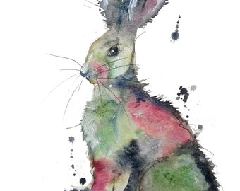 Inky pink and blue hare watercolour print