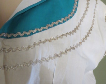 Small 1950s Cream and Teal Cotton Square Dance Patio Squaw Southwestern Western Rockabilly Dress Pin Up Waist 24 Vintage Size Viva Las Vegas