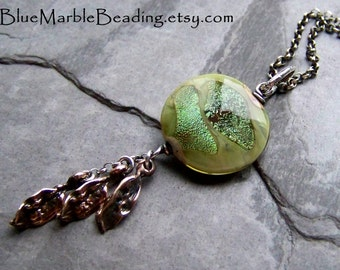 Dichroic Glass Pendant, Lampwork Necklace, Lampwork, Long Necklace, Mixed Metal Necklace, Rustic Jewelry, Oxidized Jewelry