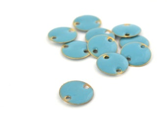 10 round sequins glazed 12 mm blue turquoise and gold