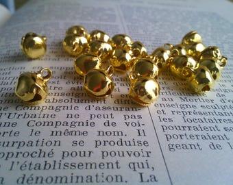 SET of 10 bell shape Golden Bell 13 x 10 MM