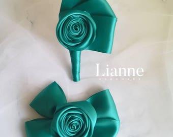 Ribbon flower corsage,wedding corsage,alternative corsage,handmade corsage