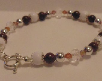 Brown Tone Beaded Bracelet with Toggle Clasp