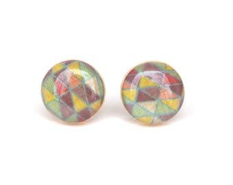 Pastel Geometric Stud earrings, Hypoallergenic earrings, Gift for her