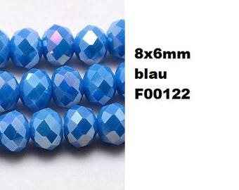 10 beads, polished, faceted beads, jewelry beads, 8 x 6 mm, blue, green, turquoise,