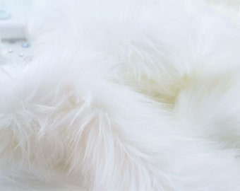 "White faux fur 2"" pile, white fur fabric craft squares, fursuit fur, fake fur, cosplay fur, long pile faux fur, white shag fur, white fur"