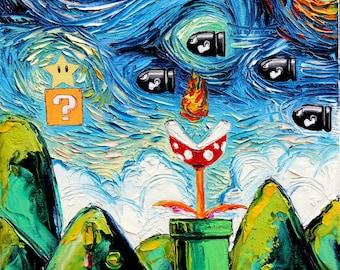 Video Game Art - man cave cool art Starry Night Giclee Gamer print van Gogh Never Met Bullet Bill by Aja 8x8 10x10 12x12 20x20 24x24 sizes