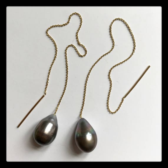 Mary Tahiti Pearl Thread Earrings