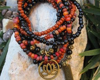 Bohemian Beaded Stretch Stacker Bracelet Set of 8 - Lotus and Namaste Charm Bracelet Set - Hippie Bracelet Set