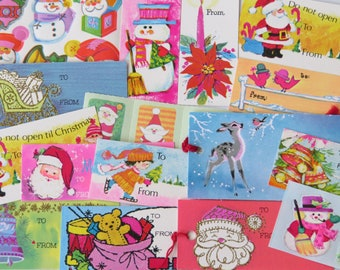 Pretty Little Vintage Christmas Gift Tag and Seal Collection x26 ~ Pastel Pinks & Blues ~