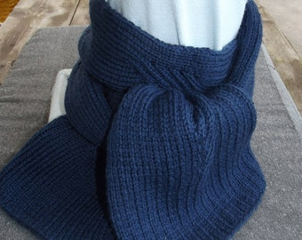 Mixed Pure Navy blue hand knitted wool scarf