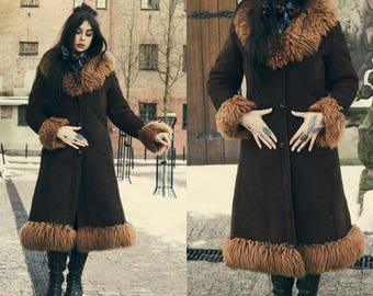 Super unique 1970's Shearling Sheepskin Coat. Lamb Fur Hippie Folklore Bohemian Trophy 70s Coat. Penny Lane rare