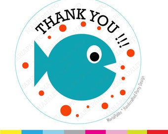 Fish Stickers,Thank you stickers, Baby Fish stickers,  Under the sea party Favor Stickers, Thank You Labels or Envelope Seals  A935