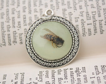 wasp glow in the dark necklace wearable art insect in resin by dead good jewellery